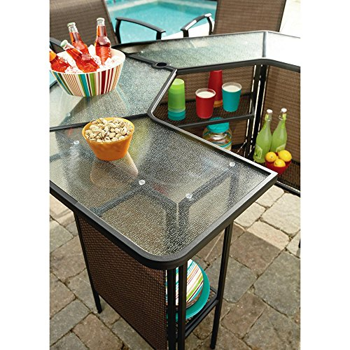 Outdoor Patio Furniture Bar Height Table And Chairs Set 5 Pieces Curved Table With Umbrella