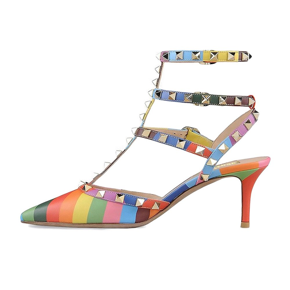 Multicolord VOCOSI Women's Rivets Buckle Studded T-Strap Pointed-Toe Kitten Heels Fashion Sandals
