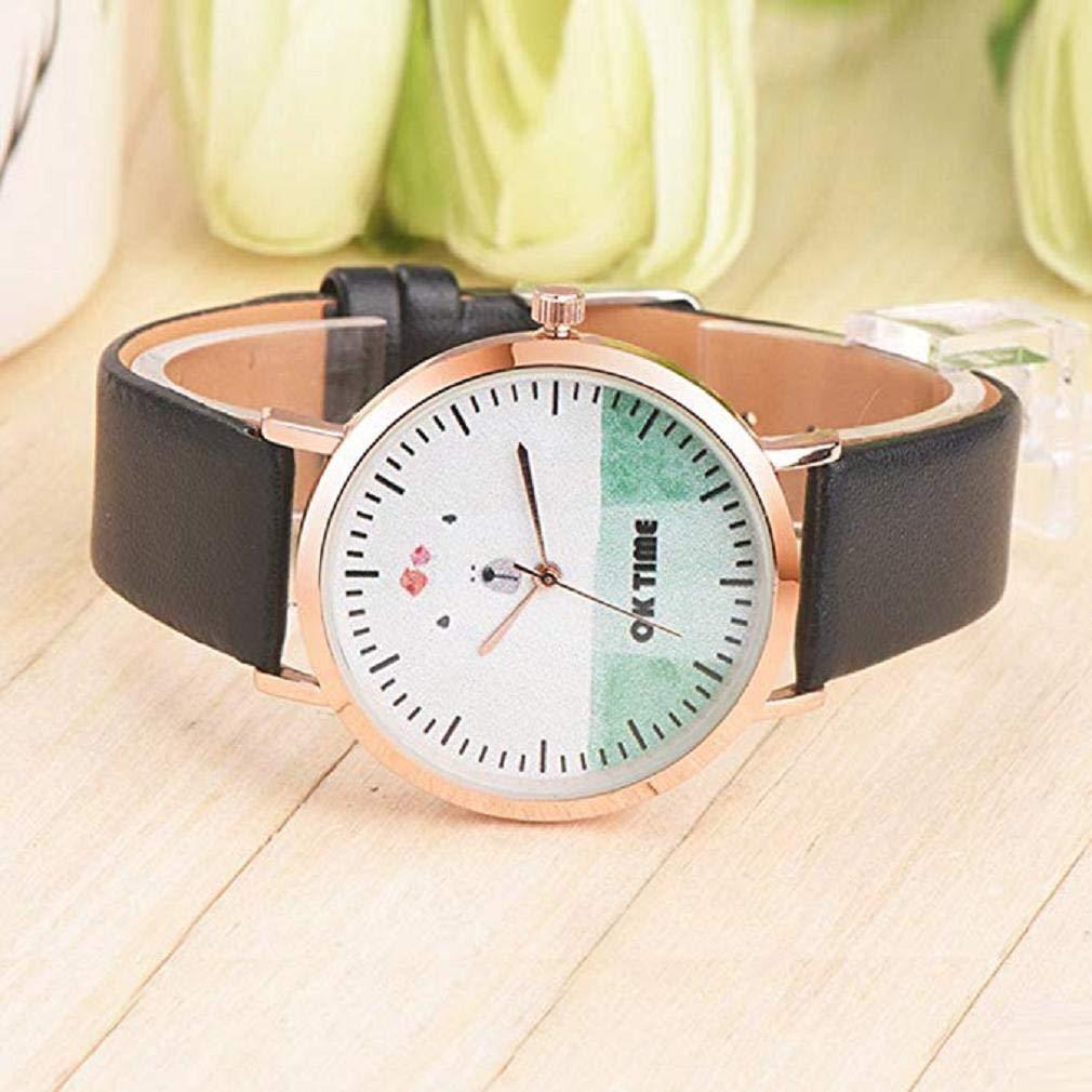 Scpink Mujeres Relojes de Cuarzo, Liquidación analógica señoras Lindas Relojes de Pulsera Relojes de niña de Cuero Redondo Femenino (Verde): Amazon.es: ...