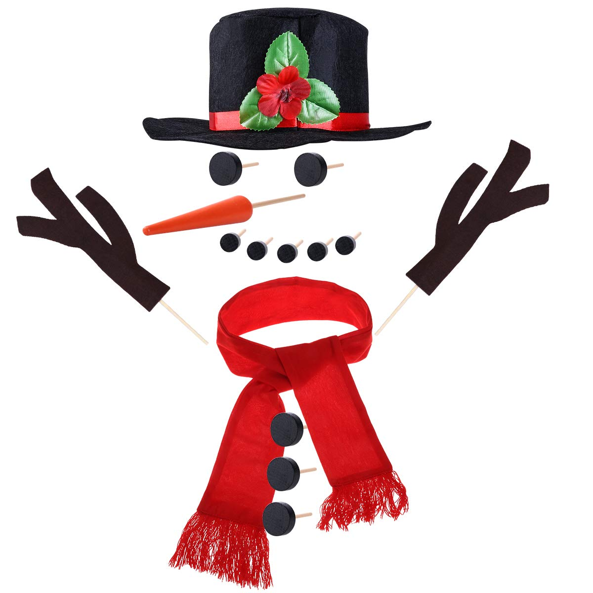TOYMYTOY Snowman Decorating Kit Snowman Dressing Making Kit for Winter Holiday Outdoor Snowman Decoration, 15Pcs