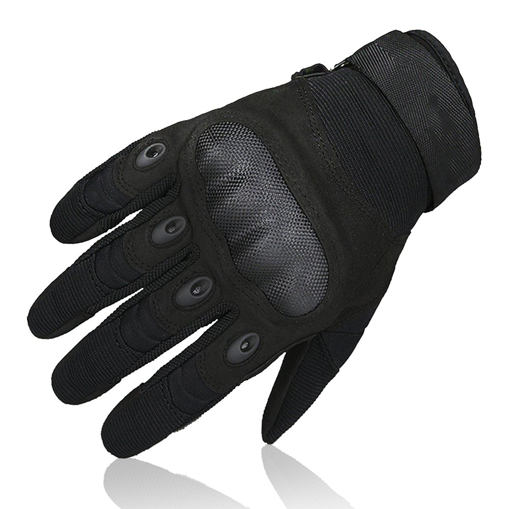 Motorcycle knuckle gloves - Omgai Upgraded Men S Full Finger Tech Touch Gloves Motorcycle Hard Knuckle Gloves For Airsoft Tactical Hiking Camping Outdoor Sports Black M