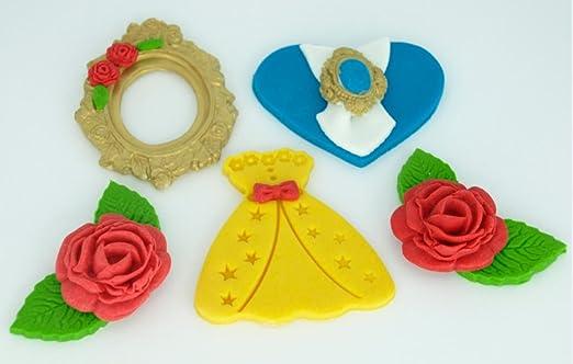6 x belleza y la bestia Fondant Cupcake Toppers - Decoración ...