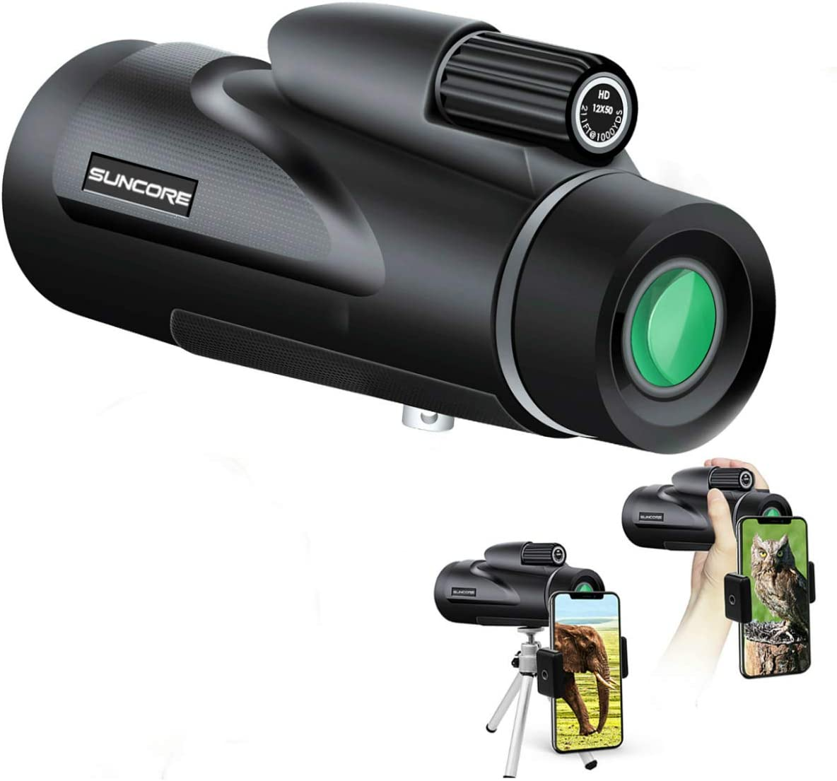 Monocular Telescope, 12 50 High Power HD SUNCORE Monocular with Smartphone Holder and Tripod Waterproof HD FMC Bak4 Prism for Youth Bird Watching Match Hunting Camping Outdoor Sporting