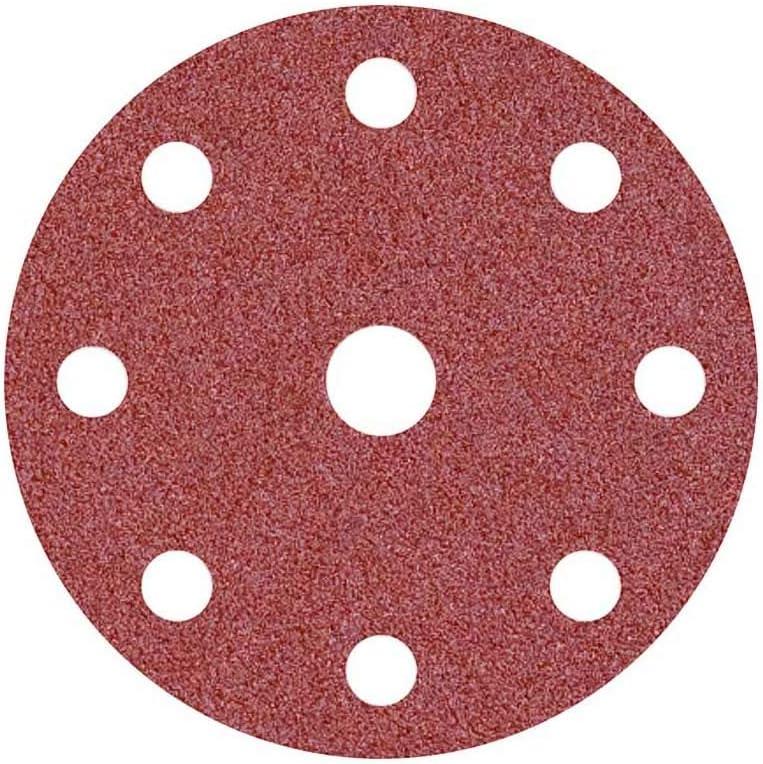 para Lijadoras Roto Orbitales 9 Agujeros 150 mm 25 Piezas Corind/ón Normal MioTools Fox Discos Abrasivos con Velcro Grano 24
