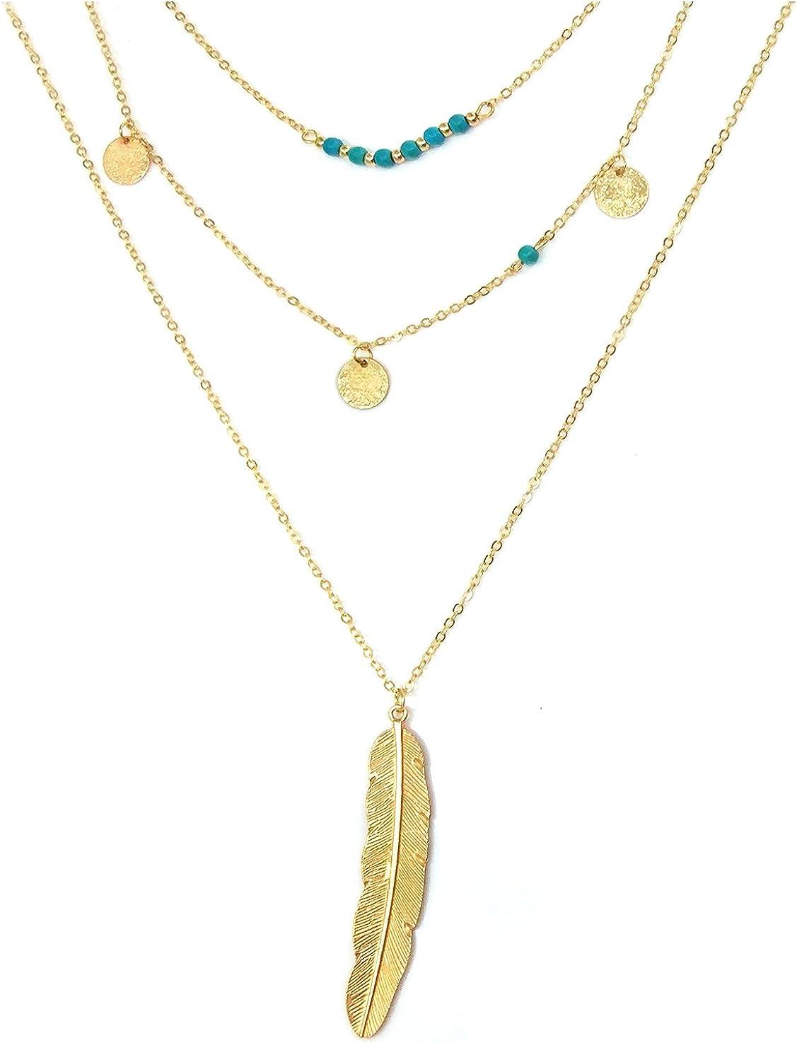 Suyi Exquisita Lentejuelas Multicapa Cadena de Turquesa Perlas Collar con Colgante de Plumas