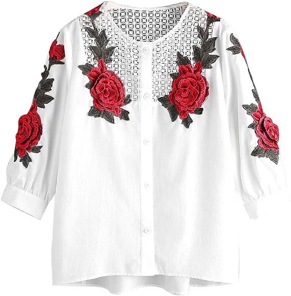 Camiseta Manga Larga de Mujer Bordado Elegante Color sólido Blusa Blanco Camisa Basica Camiseta Otoño Tops Casual Fiesta T-Shirt Original Chaqueta vpass: Amazon.es: Ropa y accesorios