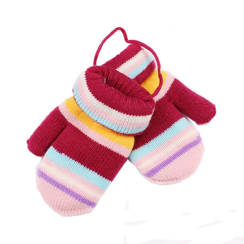 NACOLA Stripe Boys Girls Kids Winter Soft Knitted Warm Whole Covered Finger Mittens Gloves