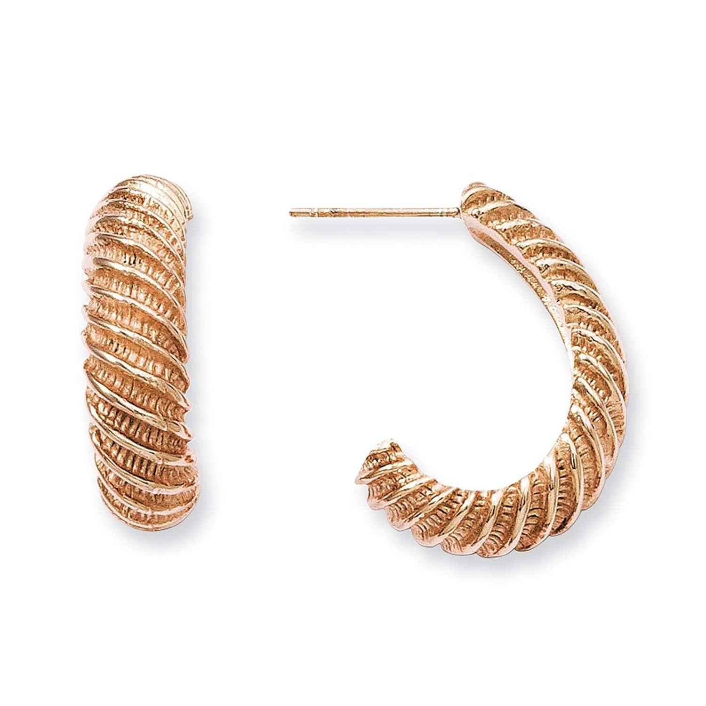Stainless Steel Rose IP-plated Textured J Hoop Post Earrings