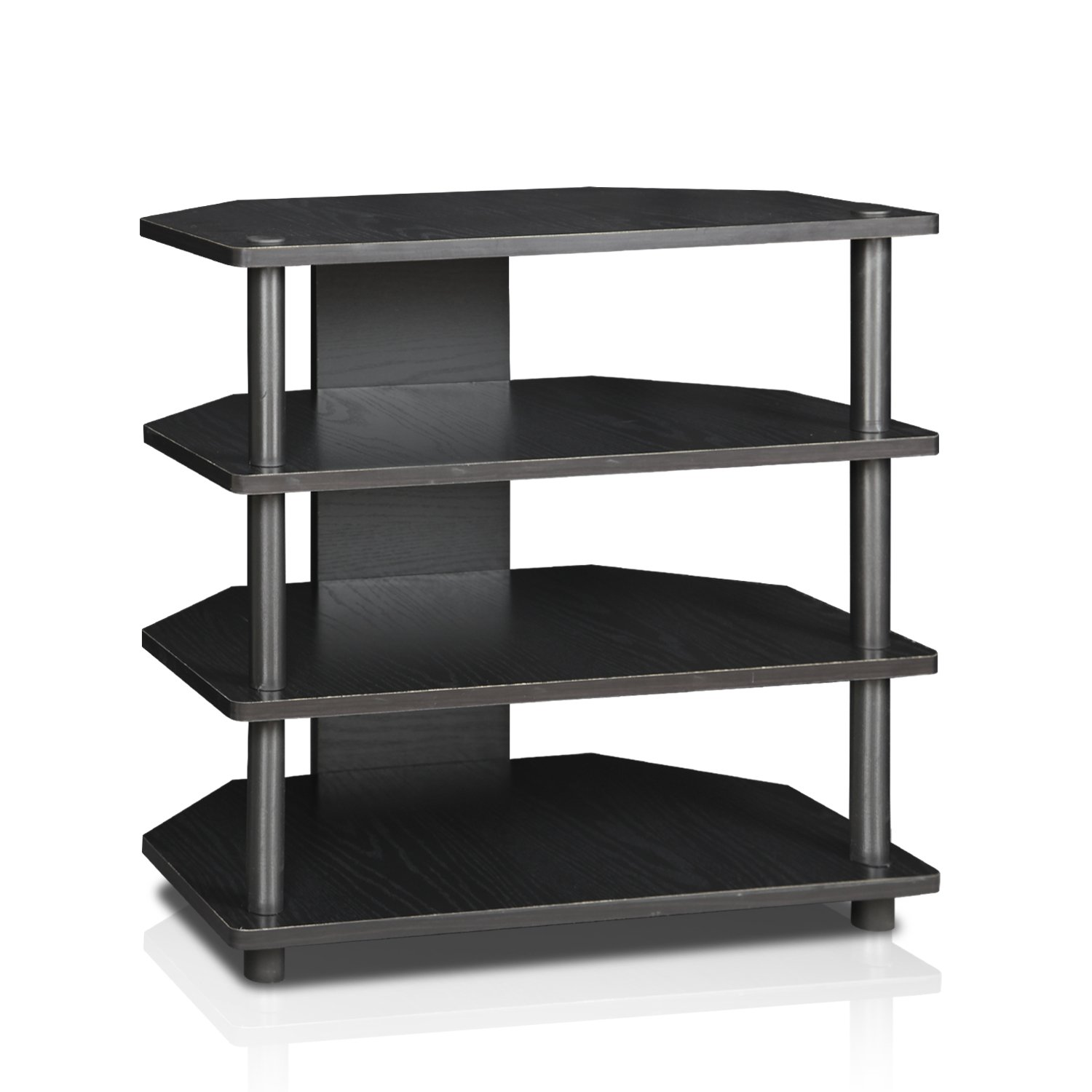 Furinno Turn-N-Tube Easy Assembly 4-Tier Petite TV Stand 15093BW/BK, Blackwood by Furinno