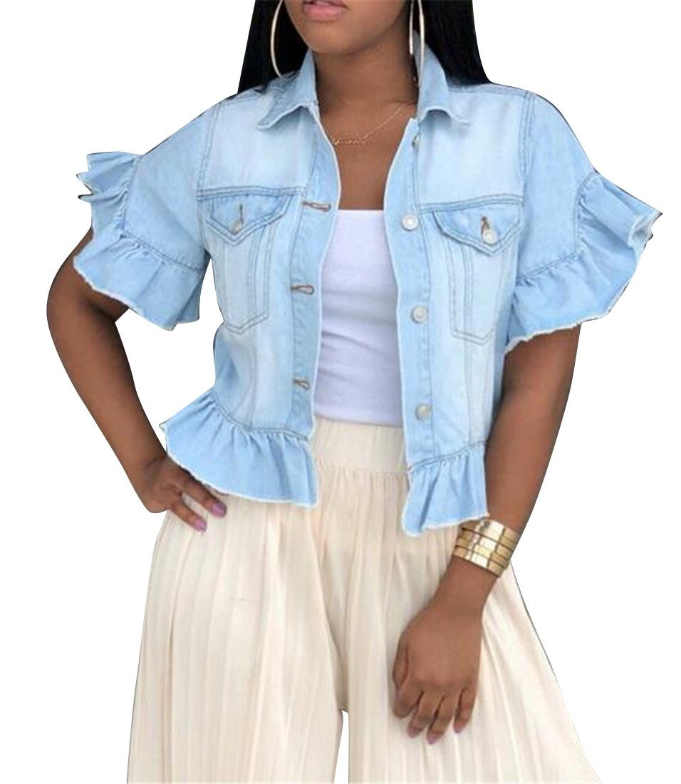 Fubotevic Women Short Sleeve Button Down Summer Ruffle Short Crop Denim Jacket Coat Outerwear Light Blue S