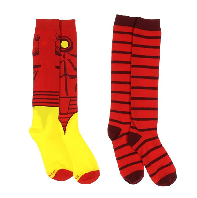043e1a6cf20 Image Unavailable. Image not available for. Color  Marvel Comics Iron Man  Avengers 2 Pair Knee High Socks