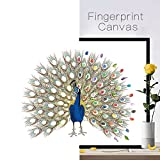 Joycentre Fingerprint Signature Wedding Registration Draw Canvas Peacock Wedding Fingerprint Decoration DIY Guest Book with Inkpad (L:6075cm(23.629.5 Inch), Peacock)