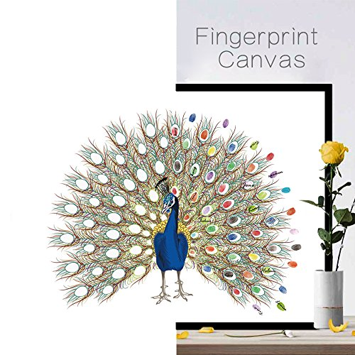 Joycentre Fingerprint Signature Wedding Registration Draw Canvas Peacock Wedding Fingerprint Decoration DIY Guest Book with Inkpad (L:6075cm(23.629.5 Inch), Peacock) by Joycentre