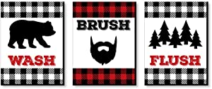 Big Dot of Happiness Lumberjack - Channel the Flannel - Kids Bathroom Rules Wall Art - 7.5 x 10 inches - Set of 3 Signs - Wash, Brush, Flush