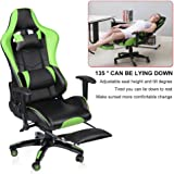 Homgrace Office Chairs,Desk Chair,Gaming Chair,Racing Swivel Chair with High Backrest, Armrests and Extendable Footrest, Adjustable Seat Height/Tilting Back