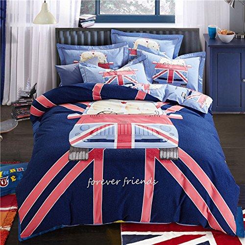Papa&Mima Cartoon Car Stripes Duvet Cover Set Flat Sheet Pillow Cases 800TC Soft Sanding Cotton Fabric 4Pcs Queen Size 200x230cm Bedding Sets