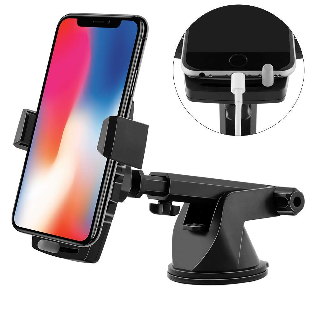 Maibahe Car Phone Holder, Universal Windshield Phone Mount, Car Mount Auto Suction Cup 360 ° Rotation Extended Arm compatible Smartphone Samsung HTC GPS device Huawei