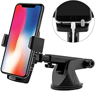 Emmabin Phone Holder for Car Mount Universal Windshield Car Mount Auto Suction Cup Windshield 360 degree Rotation with Extended Arm for iPhone 7, 7 plus, 6s, 6s plus, 5s, 5c, 4s,samsung galaxy s8, s7, s6, note, google pixel, nexus, HTC, Huawei, etc