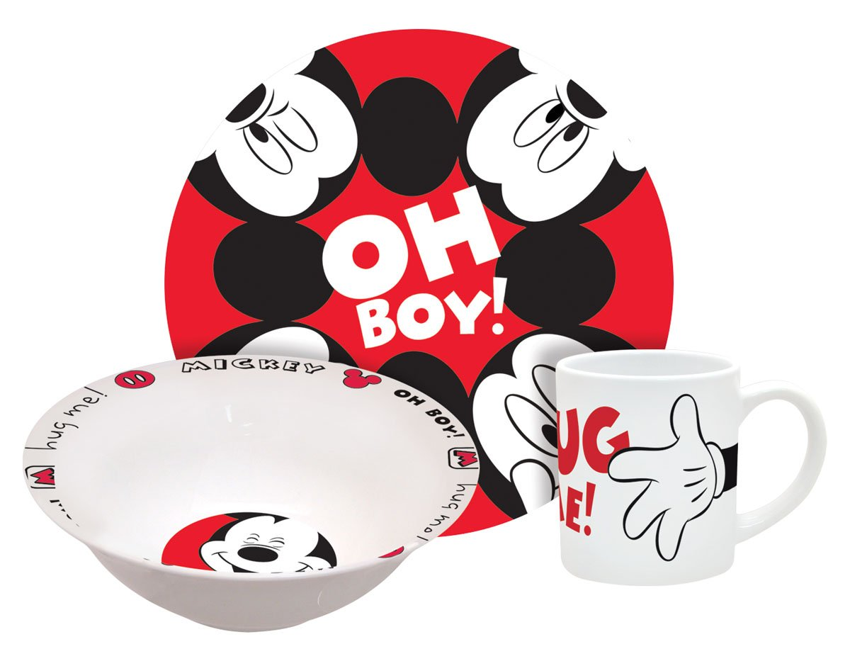 Amazon.com Disney Mickey Hug Me Dinnerware Set 3-Piece Kitchen \u0026 Dining  sc 1 st  Amazon.com : mickey mouse dinnerware set - pezcame.com