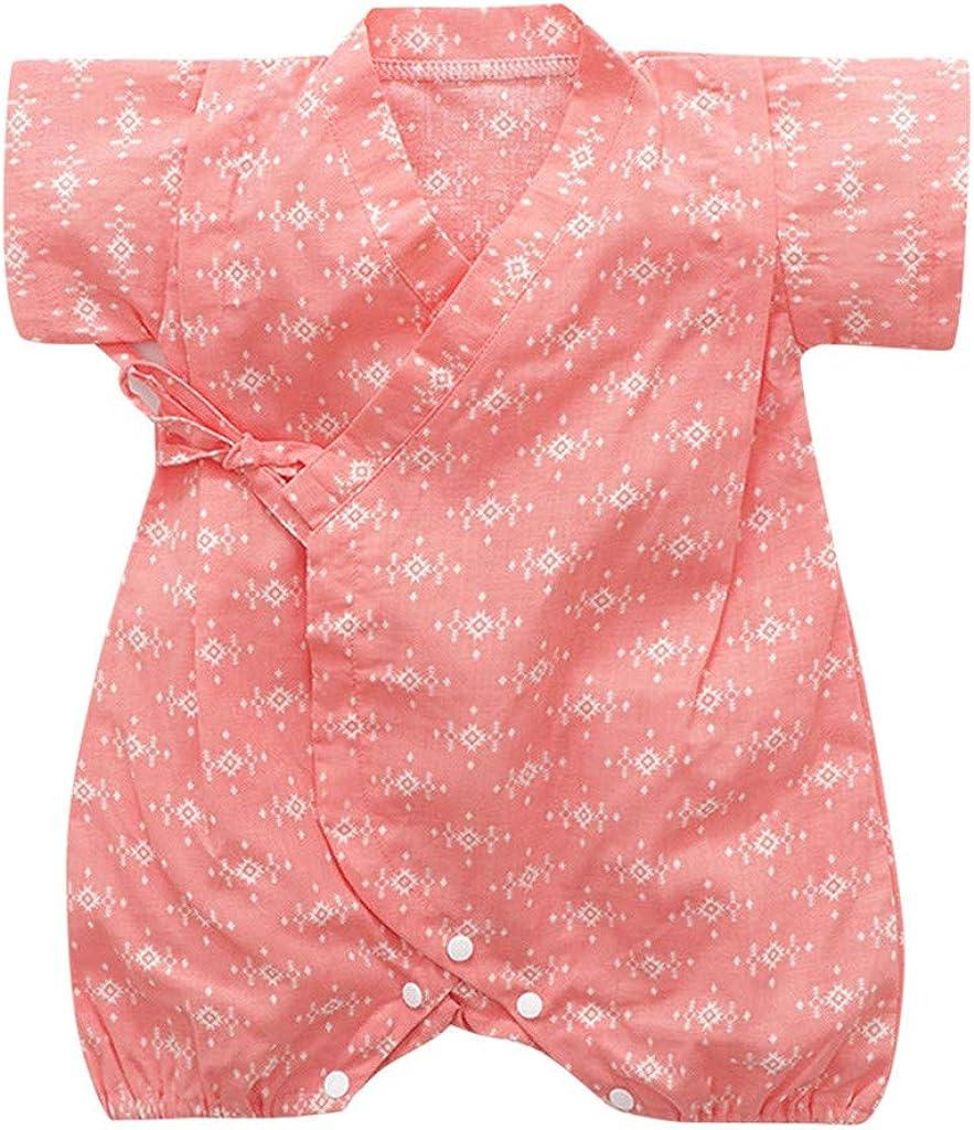 Looekveoyi Baby Girls Boys Rompers Summer Retro Cartoon Print Japanese Bag Tied Style Kimono Jumpsuit Toddler Infant Newborn Bodysuit