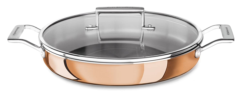 KitchenAid KC2P35BRCP Tri-Ply Copper 3.5 quart Braiser with Lid Satin Copper Medium