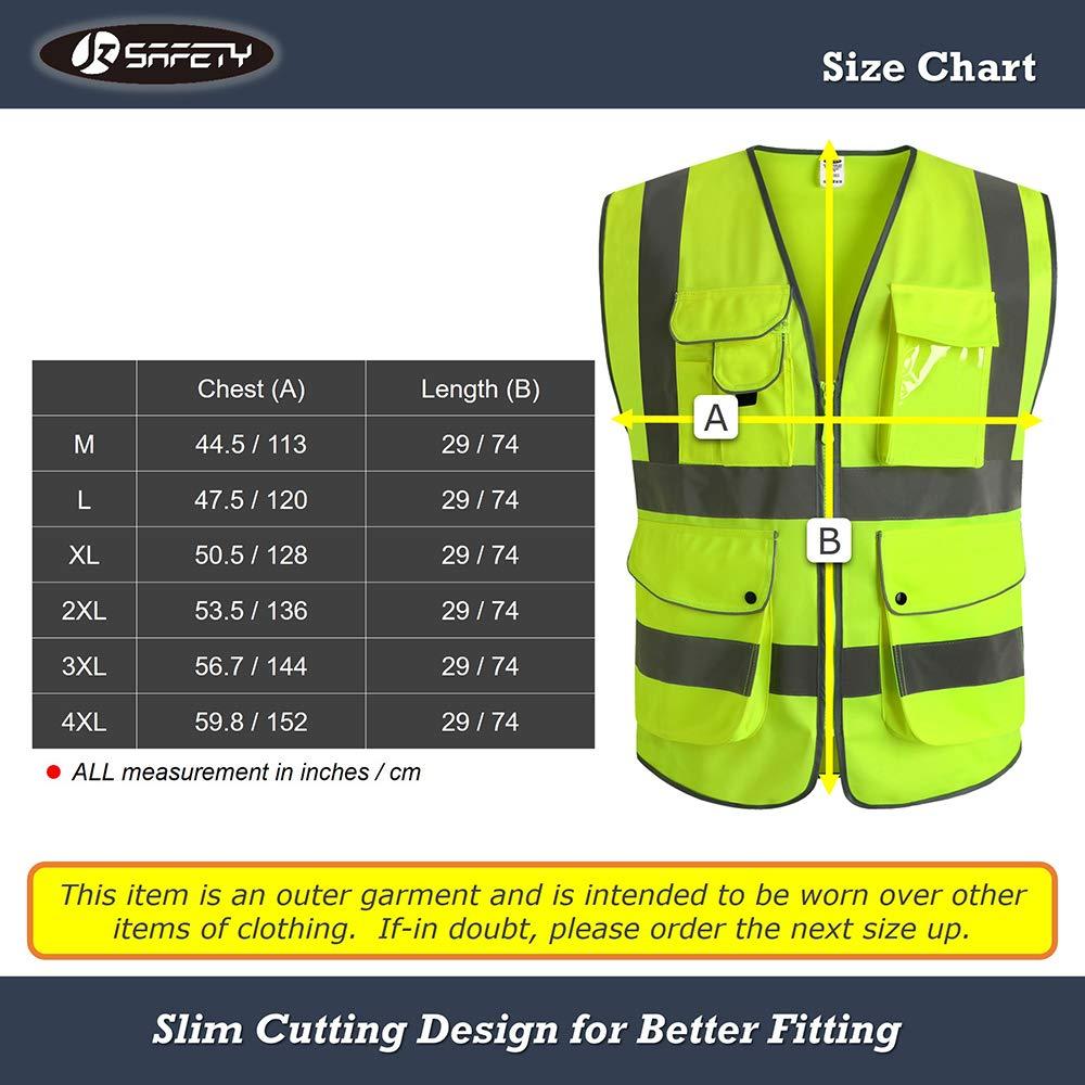 rose r/épond aux normes EN ISO 20471 Moyen JKSafety 9 poches de classe 2gilet de s/écurit/é haute visibilit/é devant avec des bandes r/éfl/échissantes Unisexe