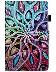 Ostop Compatible with All-New Amazon Fire HD 8 Tablet 2018/2017/2016 Case,Slim Stand Folio Cover PU Leather Flip Wallet Smart Case with Auto Sleep/Wake and Pencil Holder,Colorful Mandala