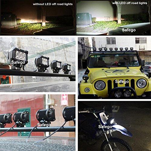 Safego Led Lights 4 Inch 18w Work Lite : Safego ″inch w led work light bar offroad flood wd