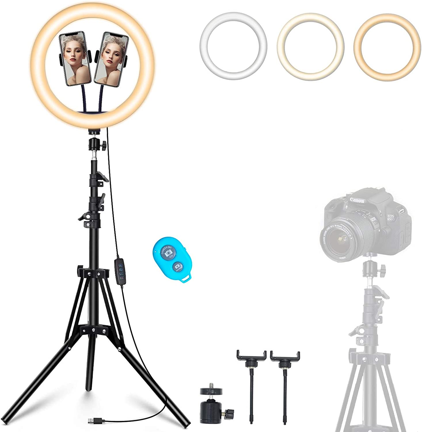 "12"" Ring Light with Tripod Stand & 2 Phone Holder, Dimmable USB Beauty Ring Lights with Bluetooth Remote, LED Selfie Ring Light for Photography/Makeup/Live Stream,Compatible with iPhone and Android"