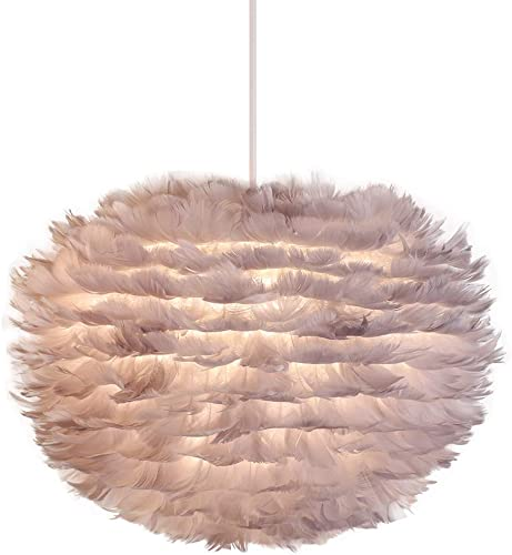 Newrays Nordic Modern Grey Feather Pendant Light Creative Personality Art Lamps for Bedroom Kitchen Restaurant Living Room Middle-Grey