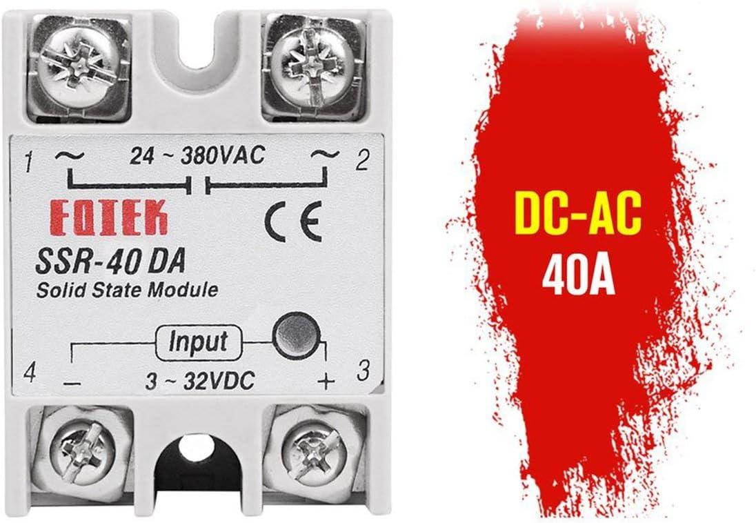 sdfghzsedfgsdfg Halbleiterrelais DC-AC 10A 25A 40A 60A 80A 100A 12V 3-32V DC bis 220V 24-380V AC Last Einphasen-SSR zur Temperaturregelung