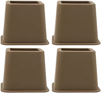 "Fenteer 3"", 5"" or 8"",Adjustable Bed Furniture Legs, Heavy Duty Plastic - Bed Risers Set of 4 - Brown 3inch 4pcs"
