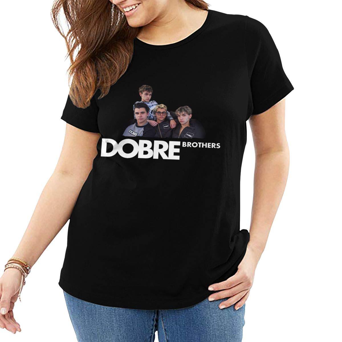 Fat Women's T Shirt Dobre Brothers Tee Shirts T-Shirt Short-Sleeve Round Neck Tshirt for Women Youth Girls Plus Size Black XL by BKashy