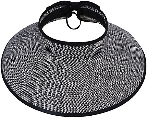 Wide Brim Straw Hat Visor with Bow,Black-White (Lifeguard White Hat)