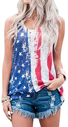 6cf52a87d5f5ad Amazon.com  For G and PL Women s Fourth of July American Print Cotton  Casual Patriotic Striped Star Tank Tops US Flag L  Clothing