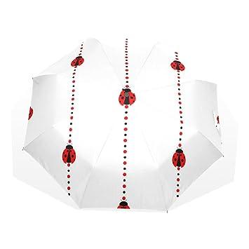 GUKENQ Ladybug Rayas Viaje Paraguas Ligero Anti UV Sun Rain Umbrella Hombre Mujer Niños, Resistente