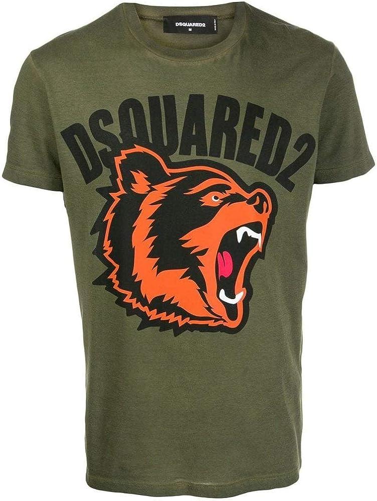 DSQUARED2 - Camiseta de manga corta, diseño de oso - Verde - Medium: Amazon.es: Ropa y accesorios