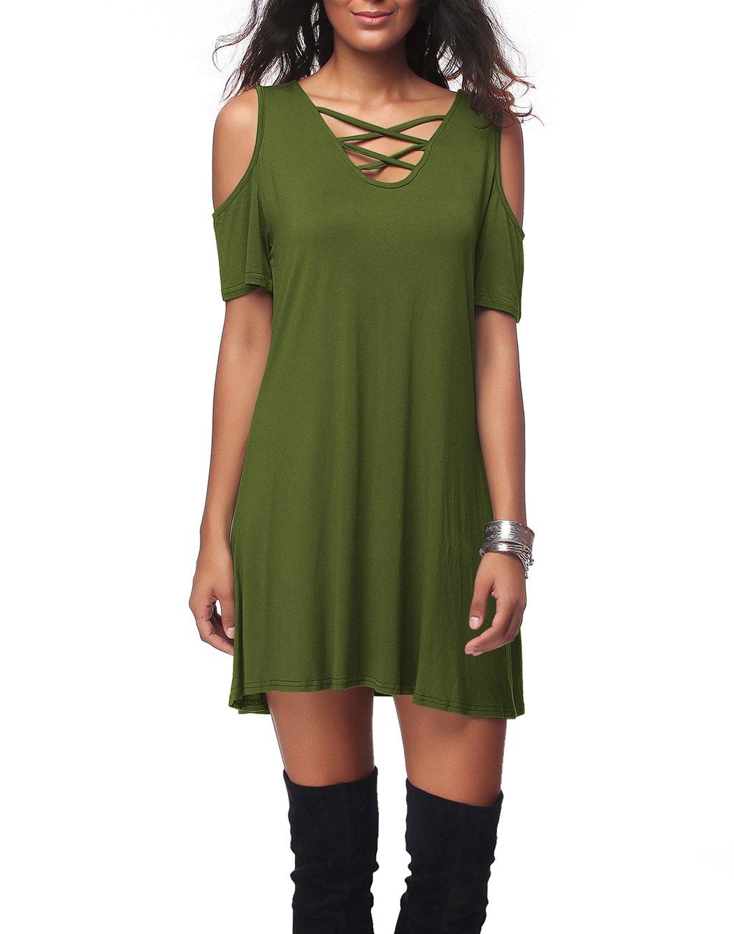 Women's Casual Short Sleeve Off Shoulder Cross V-Neck Loose Dress,Olive,XXL
