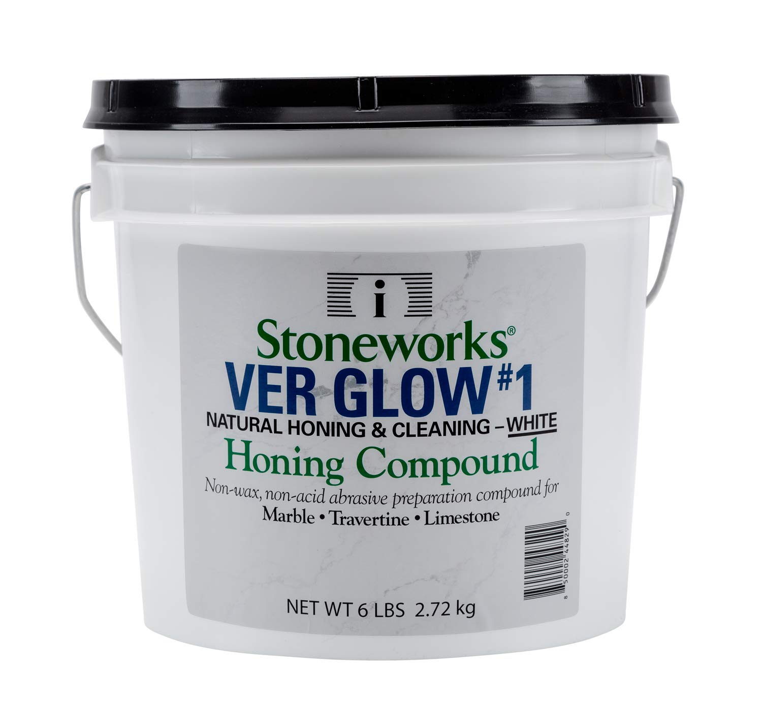 Ver Glow #1 White (6 Lb) Natural Non-Wax, Non-Acid Abrasive Compound for The Thorough Honing and Cleaning of Older and/or Worn Marble, Travertine, Limestone, Terrazzo and Other Natural Stones