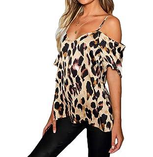 Limsea 2019 Women Blouse Tops Fashion Spring Summer Leopard Print Splice Bind Off Shoulder Button