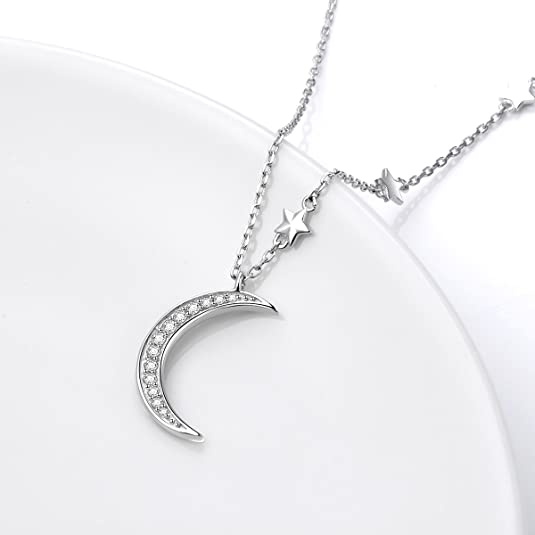 Shipping from USA 33mm Sterling Silver Moon Necklace Crescent Moon Necklace Birthday Gift