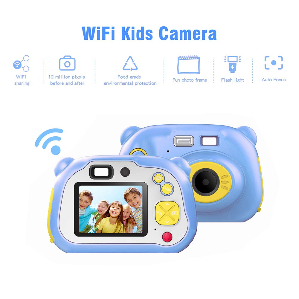 eiAmz Kids Camera, WiFi Children Digital Camera, Shockproof HD Camera, Auto Focus & with Flash Lights, Children Selfie Toy Cartoon Camera, Festival Gifts for Kid Age 3-14, Blue(Memory Card Included) by eiAmz (Image #6)