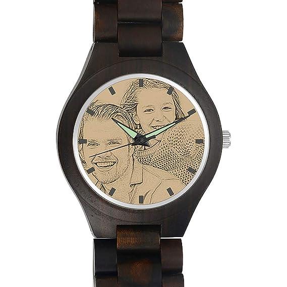 SOUFEEL Reloj Madera Personalizado Foto y Grabado Punteros Luminosos Cuarzo Regalo Personalizado para Familia Hombre Mujer Amigo Pareja: Amazon.es: Relojes