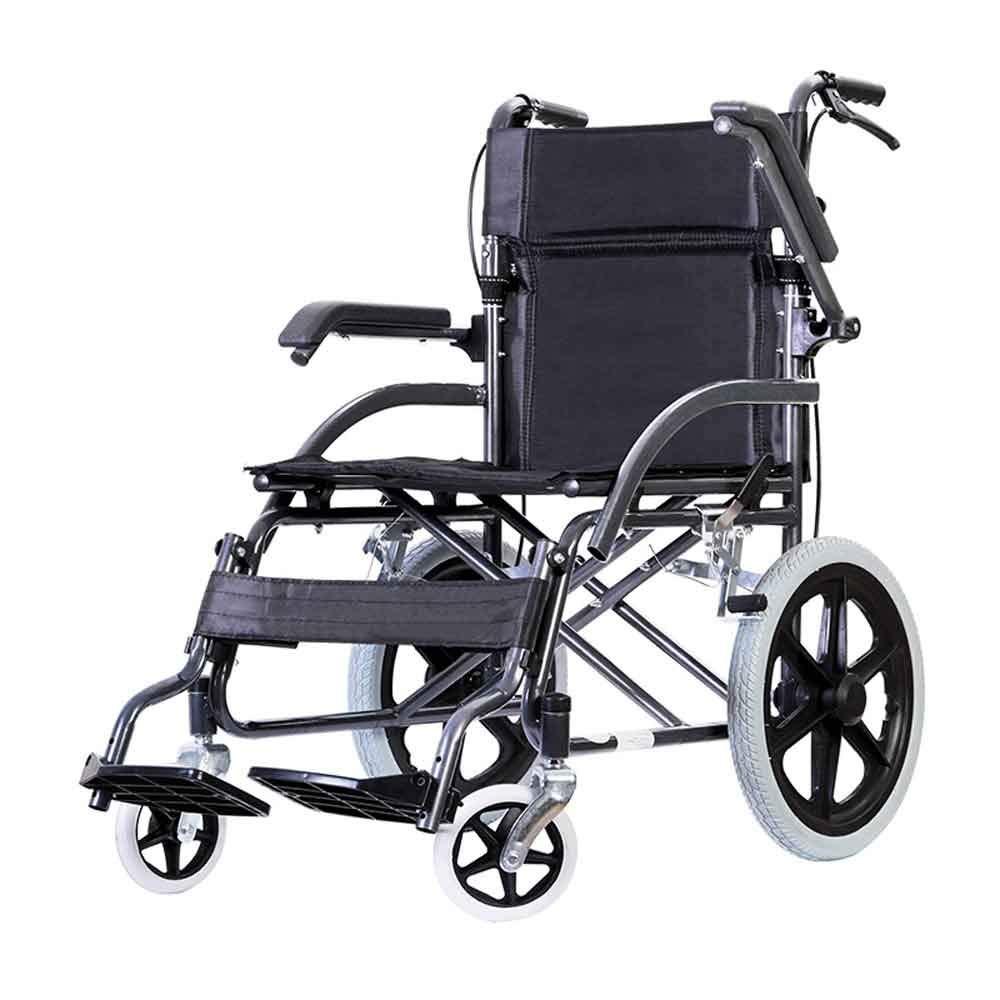 YANGLIYU Wheels Folding Self Propelled Wheelchair,Lightweight and Foldable Frame, Attendant-Propelled Wheelchair, Portable Transit Travel Chair, Removable Footrests, Black
