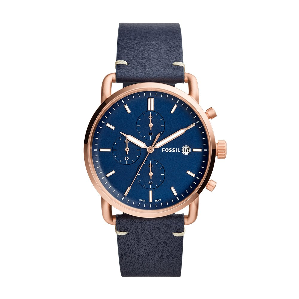 Amazon.com: Fossil Mens The Commuter Navy Leather Watch FS5404: Fossil: Watches