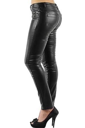 Jean cuir stretch femme