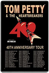 """Vintage Poster Metal Sign - Tom Petty & The Heartbreakers Metal Tin Sign Wall Decor 8"""" X 12"""""""