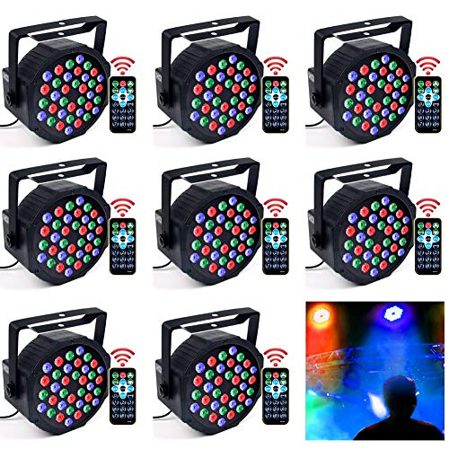 DJ Lights, KOOT 36 X 1W RGB Stage Disco Uplighting Package Sound Activated Strobe Lights, High Brightness and Quiet Motor with Remote and DMX Control, 8 Modes Best for Wedding Church Bar (8 Packs)