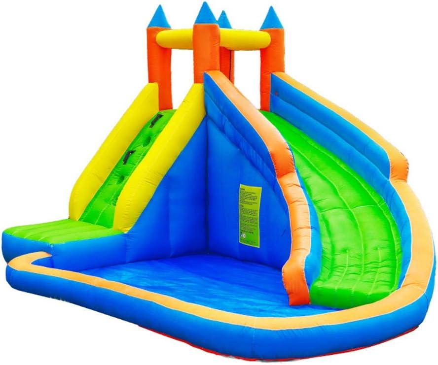 NOBLJX Castillos hinchables inflables, tobogán acuático para niños de la casa Puente Grandes con Muro Escalada, área Piscina y soplador 680 vatios, Centro Actividades Patio recreo 400 x 250 x 300cm