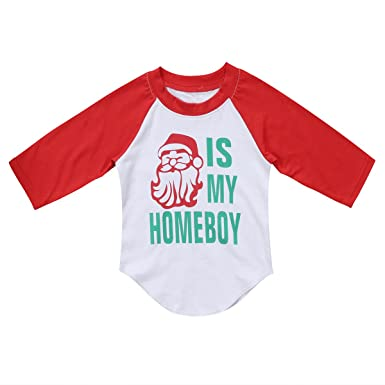 52a86670cb4a1 Pudcoco Baby Kids Little Boys Girls Long Sleeve Santa is My Homeboy  Christmas Shirt